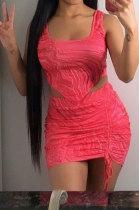 Fashion Women Printing Sleeveless Skirts Sets NL6045