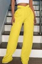 Fashion Pure Color Double Waistband Sport Casual Wide-Legged Pants GL6361