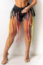 Eyelet Coloured Ribbon Tassel Denim Shorts XQ1107