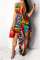 Condole Belt V Neck Irregularity Midi Dress QQM3739