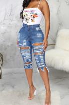 Fashion Torn By Hand High Waist Water Washing Cowboy Stretch Shorts SMR2284