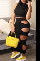 Fashion Asymetric Sleeveless Pure Color Sexy Hole Hole Dress Two-Piece QQ5240