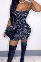 Trendy Sexy Printing Activity Buckle Gallus Mini Dress RB3158