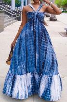 Blue High Waist Gallus Printing Long Dress JZH8038