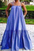 Gallus Sleeveless Loose Waist Blue Pocket Temperament Commuting Long Dress JZH8037