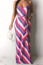 Casual Stripe Printing Gallus Long Dress(Contain Belt)AMM8163