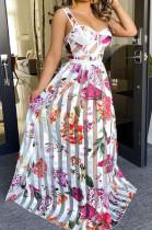 Fashion Bandeau Bra Sling Print Big Skirt Long Dress ZS094