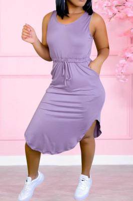 Fashion High Elastic Peach Neck Collect Waist Casual Dress YYZ854