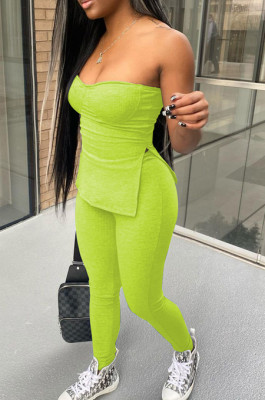 Pure Color Pit Bar Stretch Tight Boob Tube Top Long Pant Two-Piece YYF8207