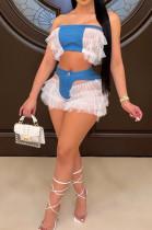 Women High Elastic Copy Cowboy Boob Tube Top Spliced Net Yarn Two-Piece YYZ535