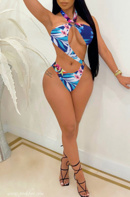 The Heach Hang A Neck Sexy Digkage Printing Jumpsuit Swimsuits YYF8202