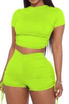 Fashion Blackless Shirred Detail Sleeve Short Shorts Sport Suit YYF8195