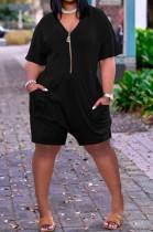 Women Loose Pure Color V Neck Zipper Casual Jumpsuit ALS242
