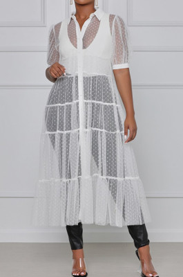 Wave Point Pure Color Net Yarn Short Sleeve Coat Dresses QY5051
