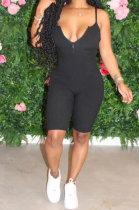 Trendy Women Sleeveless Front Zipper Pure Color Romper Shorts AYM5002