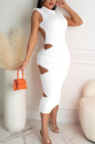 Euramerican Pure Color Hollow Out Fold Sleeveless Halteuneck Dress TRS1128