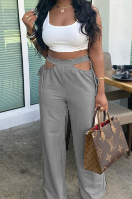 Casual Pure Color Hollow Out Waist Width Legs Flare Pants TRS1126