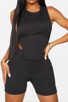 Fashion Pure Color Halterneck Bind Loose Sport Two-Piece SM9166