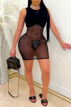 Fashion Net Yarn Spliced Sexy Mini Dress OEP6276