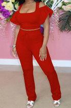 Pure Color Short Sleeve Long Pants Sport Two-Pieces QQM4274