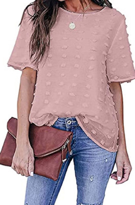 Euramerican Fashion Pure Color Chiffon Shirt Casual Round Neck Top MDO202104