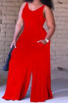 Women Pure Color Vest Wide Leg Jumpsuits QQM4274