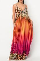 Casual Print Gradinet Loose Sling Long Dress F8352