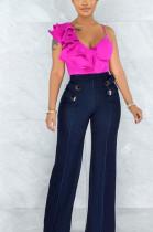 Fashion Pure Color Sleeveless Falbala Top LSZ9081