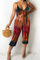 Fashion Casual Positioning Print Sling Vest Jumpsuits OEP6280