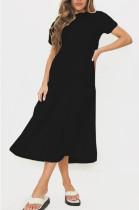 Fashion Casual Pure Color Stealth Zipper Loose Dresses SM9157