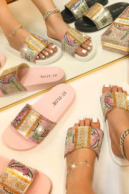 Fashion Flat Diamond A Word Cool Slippers STK27