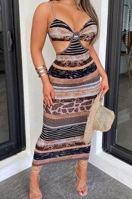 Sexy Backless Gallus Printing Midi Dress SH7251