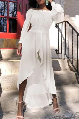 Euramerican Bind Chiffon A Work Led Big Skirt Collect Waist Dress L0345