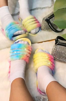 Fashion Colorful Tie Dye Fur Flat Summer Slippers STK13