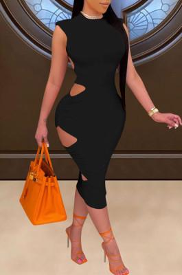 Fashion Sleeveless Pure Color Hollow Out Dress E8580