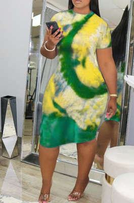 Fashion Tie Dye Print Sexy Round Neck Dress YFS3519