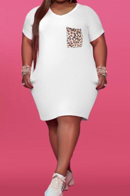 Fashion V Neck Leopard Print Pocket Dress YFS3689