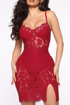 Sexy Sling Lace Fashion Open Fork Dress Q775