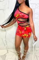 Women One Shoulder Butterfly Print Hollow Out Dress Q798