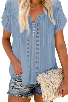 Pure Color Chiffon V Neck Fold Short Sleeve Blouse MDO202105