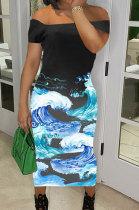 Loose Beach Vacation Printing Midi Dress AYL2041