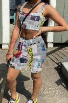 Trendy Streets Trendsetter Printing Vest Sleeveless Shorts Sets WME2048