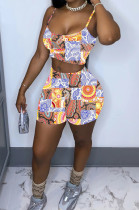 Fashion Irregularity Print Sling Vest Shorts Two-Piece WY6787