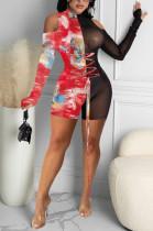 Fashion Net Yarn Spliced Off Shoulder Sexy Dress Q780