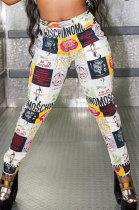 Fashion Graffiti Commuting Casual Mid Waist Long Pants CYC715