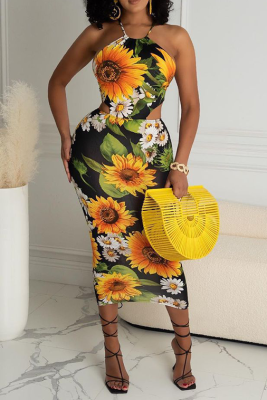 Small Fragrant Wind Bag Buttock Printed Backless Long Dress PHH1299