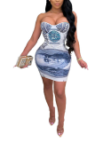 Sexy Dollar Print Skinny Strapless Mini Dress PHH1297