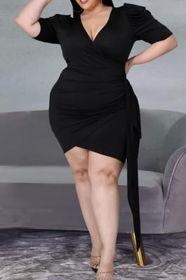 Fashion V Neck Fold Puff Sleeve Dress HY002
