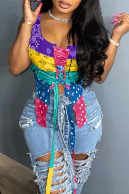 Fashion Sleeveless Color Matching Floral Top YR8072