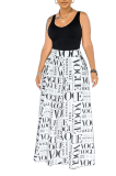 High Waist Wide Tube  Letter Printed Casual Wide-Leg Trousers (pants only) PHH1298